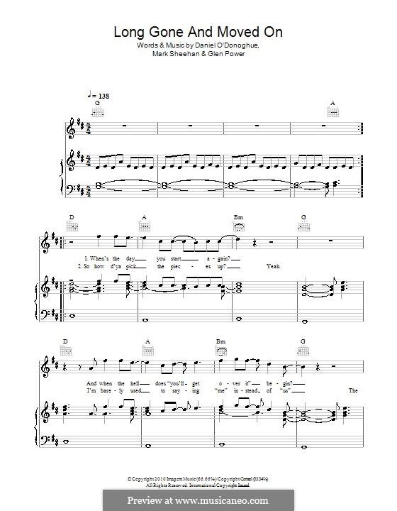 Long Gone and Moved On (The Script): Para vocais e piano (ou Guitarra) by Danny O'Donoghue, Glen Power, Mark Sheehan