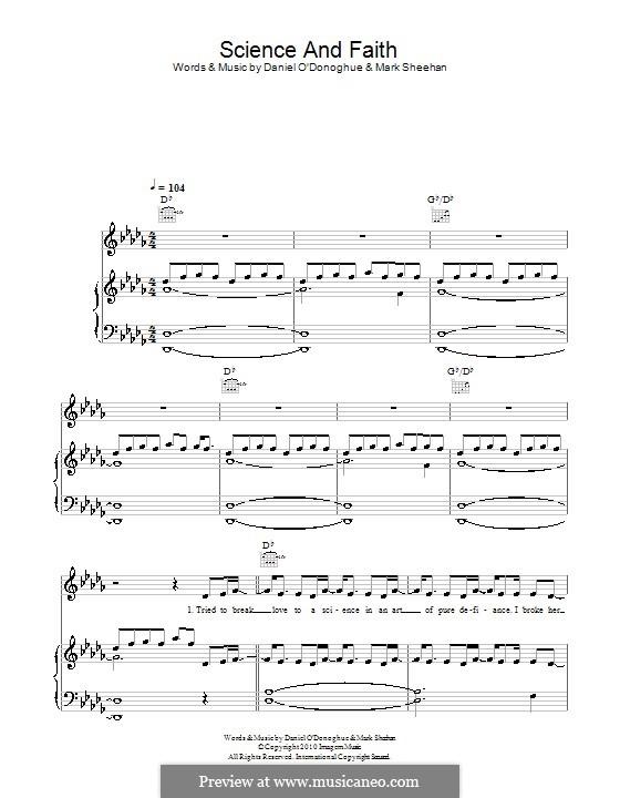 Science and Faith (The Script): Para vocais e piano (ou Guitarra) by Danny O'Donoghue, Mark Sheehan