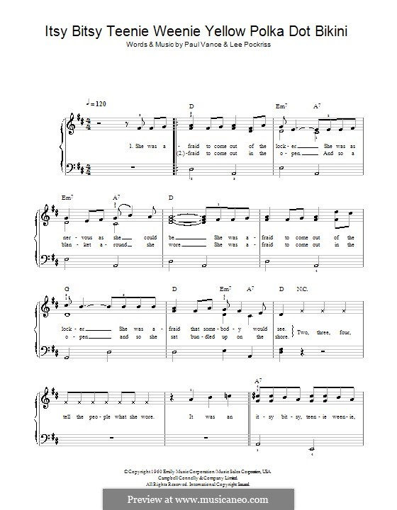Itsy Bitsy Teenie Weenie Yellow Polka Dot Bikini: Facil para o piano by Lee Pockriss, Paul J. Vance