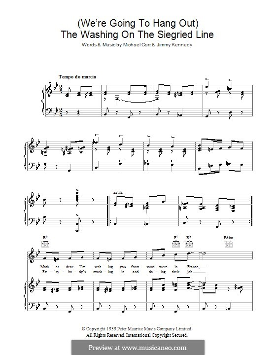 The Washing on the Siegfried Line: Para vocais e piano (ou Guitarra) by Jimmy Kennedy, Michael Carr