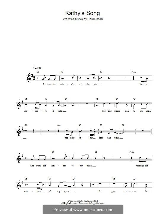 Kathy's Song (Simon & Garfunkel): melodía,letras e acordes by Paul Simon