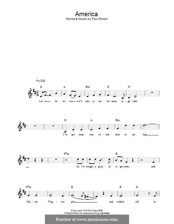 America (Simon & Garfunkel): melodía,letras e acordes by Paul Simon