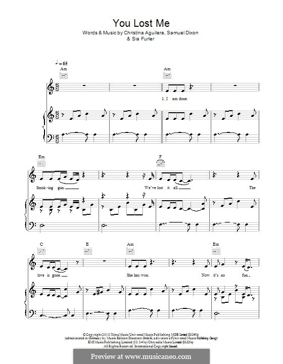 You Lost Me: Para vocais e piano (ou Guitarra) by Christina Aguilera, Samuel Dixon, Sia Furler