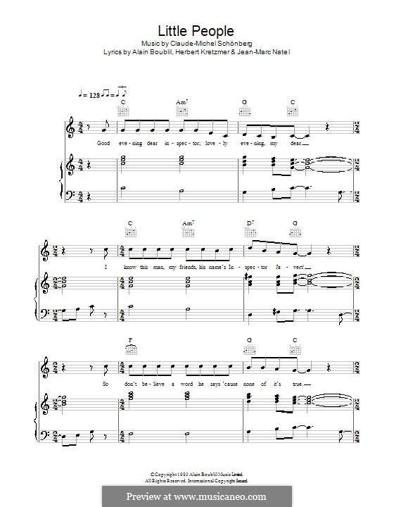 Little People: Para vocais e piano (ou Guitarra) by Claude-Michel Schönberg