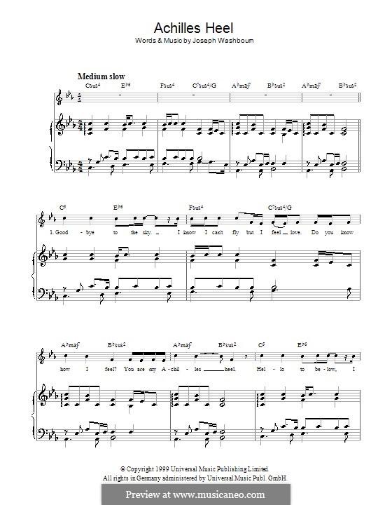 Achilles Heel (Toploader): Para vocais e piano (ou Guitarra) by Joseph Washbourn