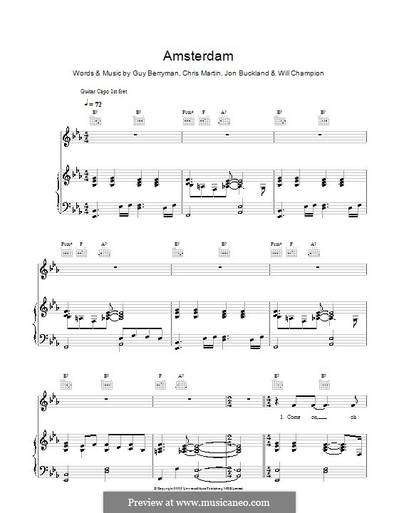 Amsterdam (Coldplay): para vocais,piano ou guitarra by Chris Martin, Guy Berryman, Jonny Buckland, Will Champion