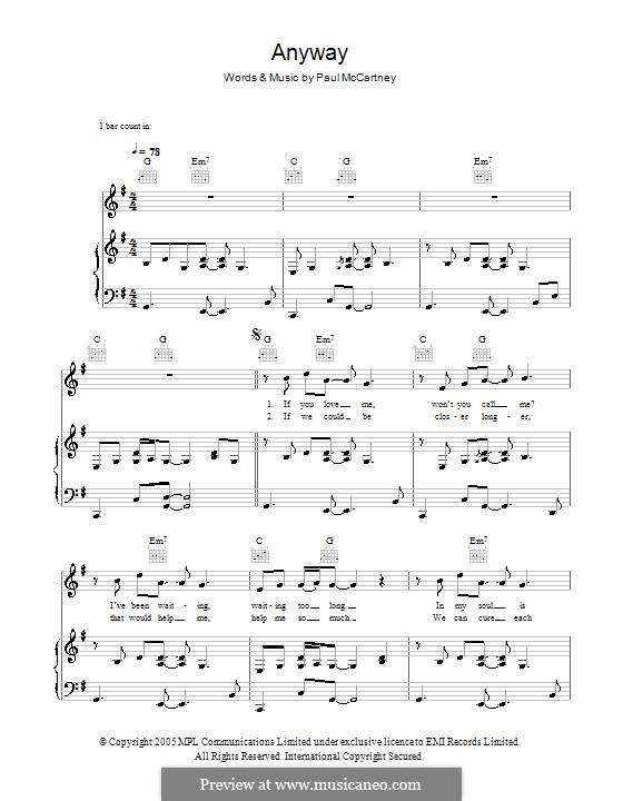 Anyway: Para vocais e piano (ou Guitarra) by Paul McCartney