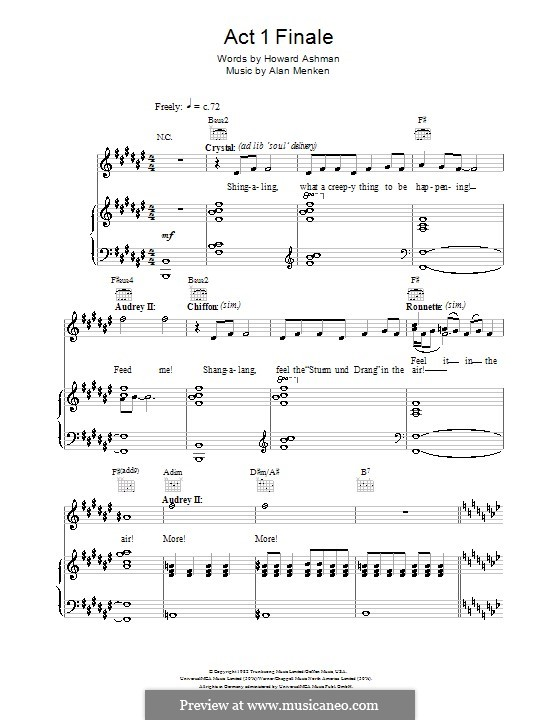 Act I Finale (from Little Shop of Horrors): Para vocais e piano (ou Guitarra) by Alan Menken