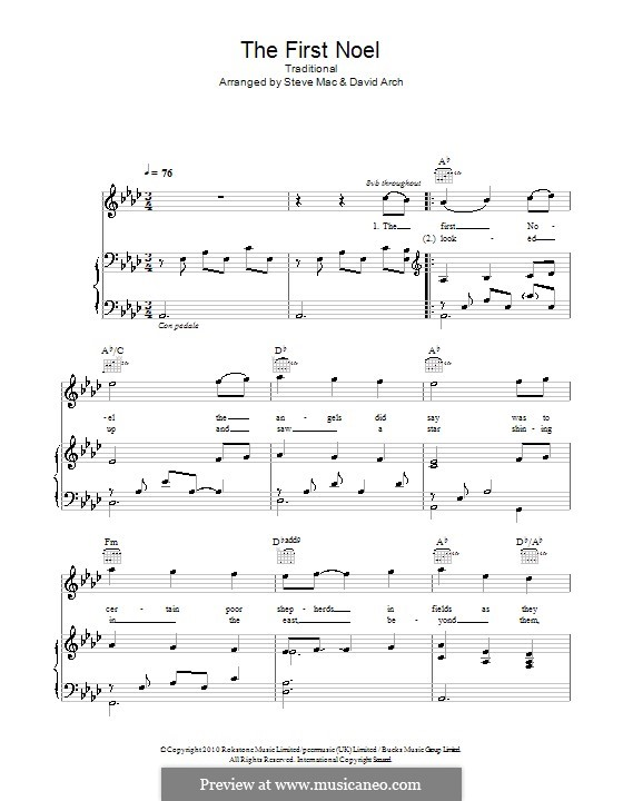 The First Nowell (The First Noël), Printable scores: para voz e piano ou guitarra ( A flat maior) by folklore