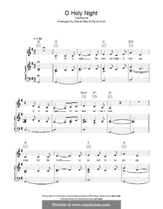 O Holy Night (Printable Scores): For voice and piano (or guitar) G Major by Adolphe Adam