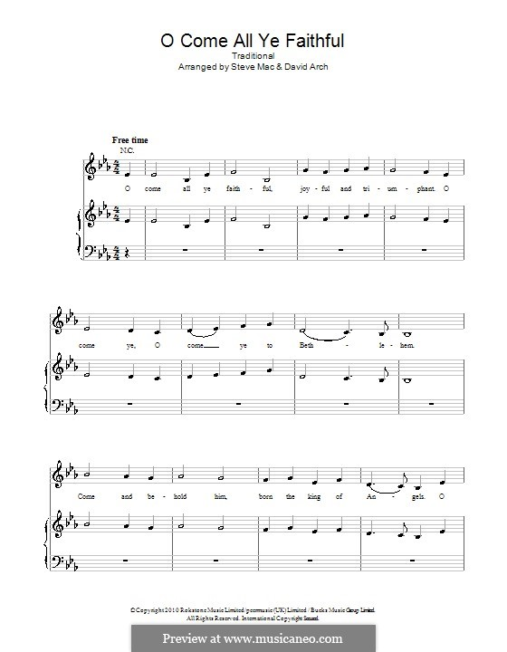 O Come, All Ye Faithful (Printable Scores): For voice and piano or guitar (Susan Boyle) by John Francis Wade