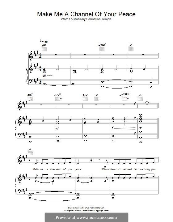 Make Me a Channel of Your Peace (Prayer of St.Francis): Para vocais e piano (ou Guitarra) by Sebastian Temple