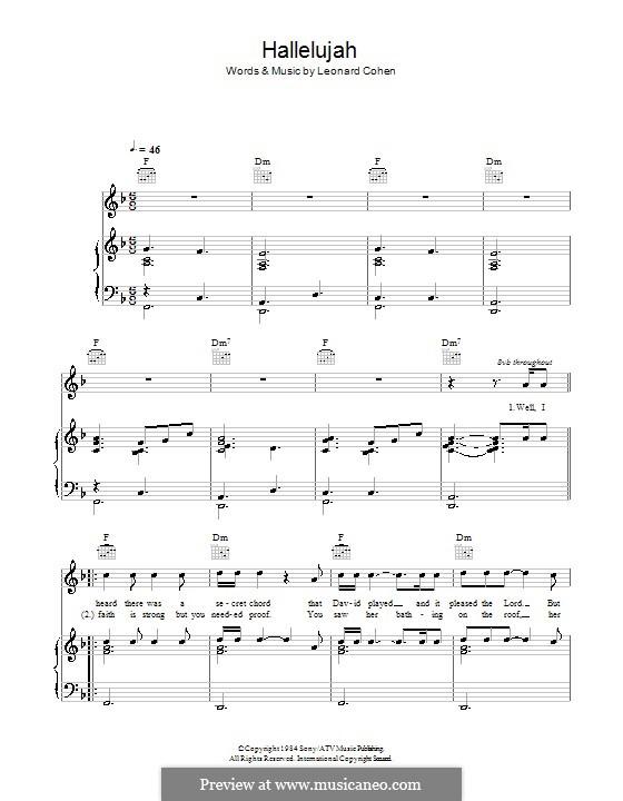 Piano-vocal score: para voz, piano e guitarra (F Major) by Leonard Cohen