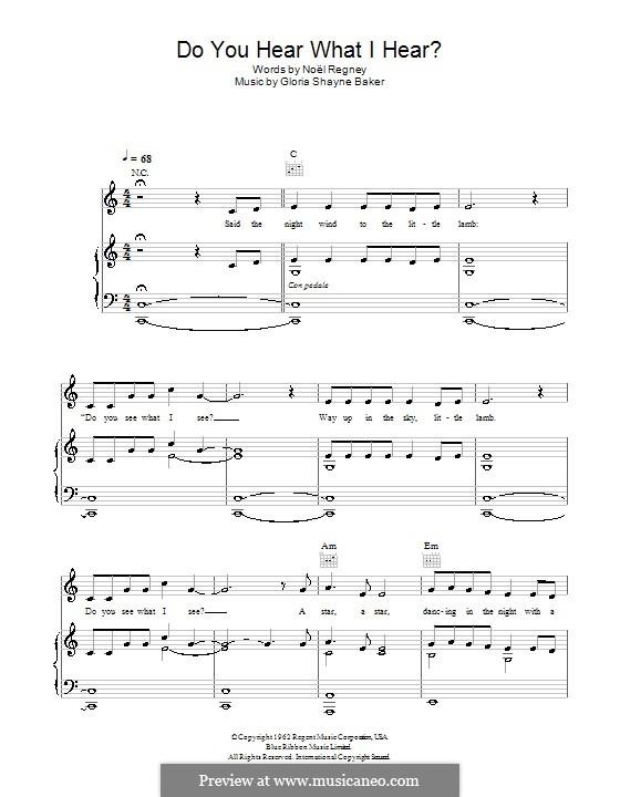 Do You Hear What I Hear: Para vocais e piano (ou Guitarra) by Gloria Shayne, Noël Regney