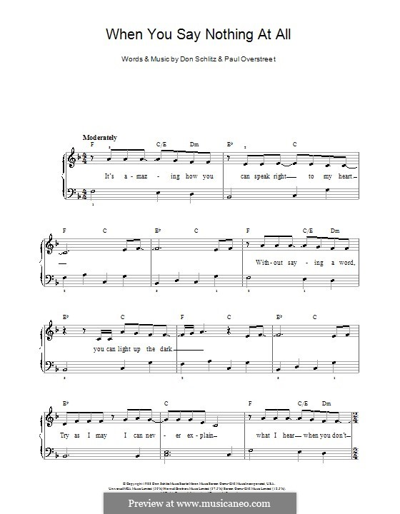 When You Say Nothing at All (Alison Krauss & Union Station): Facil para o piano by Don Schlitz, Paul Overstreet