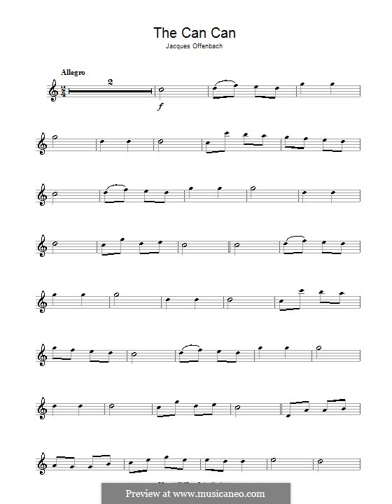 Can-Can (Printable Scores): For alto saxophone and piano – solo part by Jacques Offenbach
