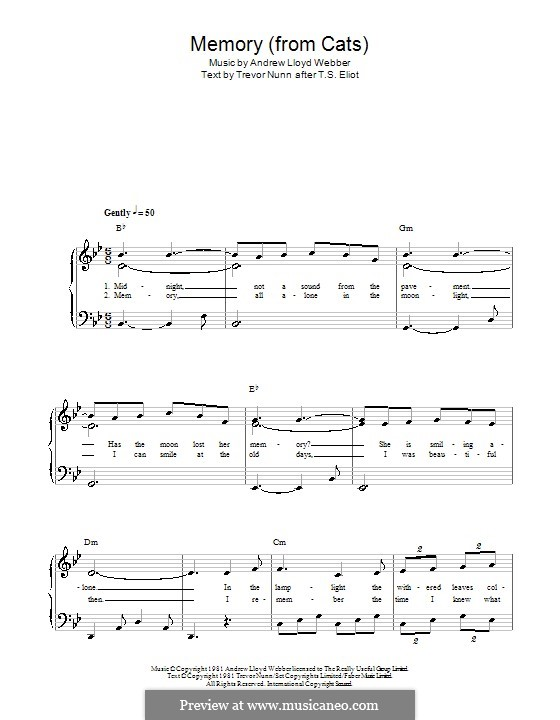 Memory (from Cats): For easy piano (B Flat Major) by Andrew Lloyd Webber