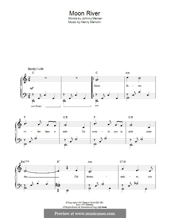 Moon River, for Piano: Versão Facil by Henry Mancini