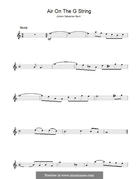 Aria (Printable Scores): Versão para flauta  by Johann Sebastian Bach