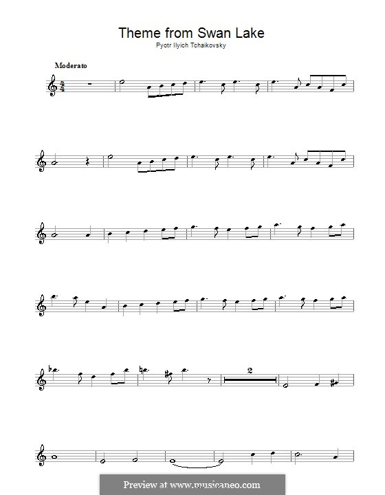No.14 Scène: Arrangement for flute and piano – solo part (Theme) by Pyotr Tchaikovsky