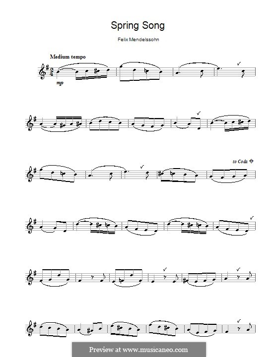 Songs without Words, Op.62: No.6 Spring Song, for flute by Felix Mendelssohn-Bartholdy