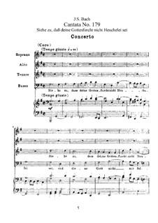 Siehe zu, daß deine Gottesfurcht nicht Heuchelei sei, BWV 179: Partitura piano-vocal by Johann Sebastian Bach