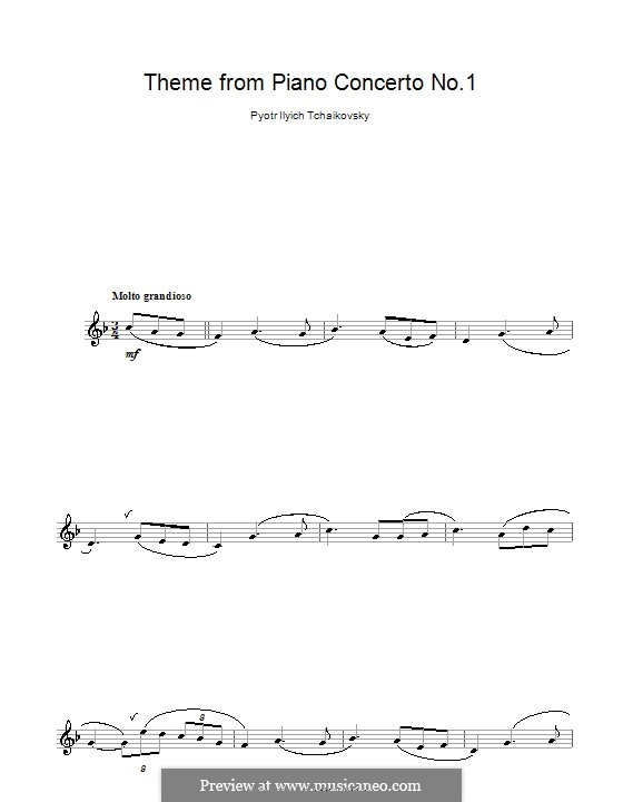 Concerto for Piano and Orchestra No.1 in B Flat Minor, TH 55 Op.23: Movement I (Theme), for clarinet by Pyotr Tchaikovsky