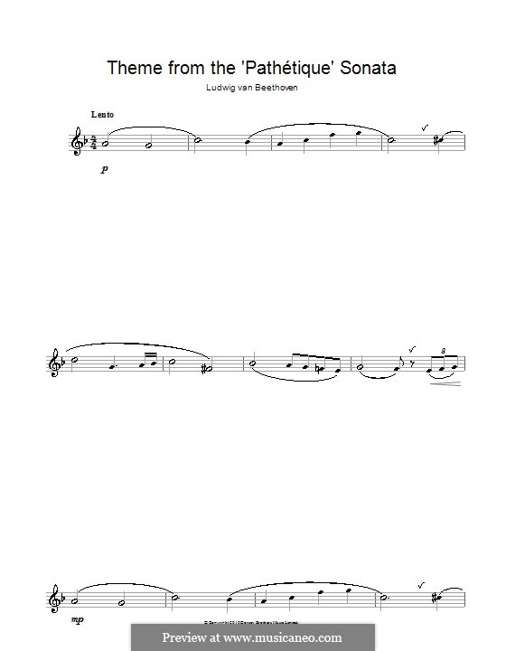 Movement II: Theme. Version for flute by Ludwig van Beethoven