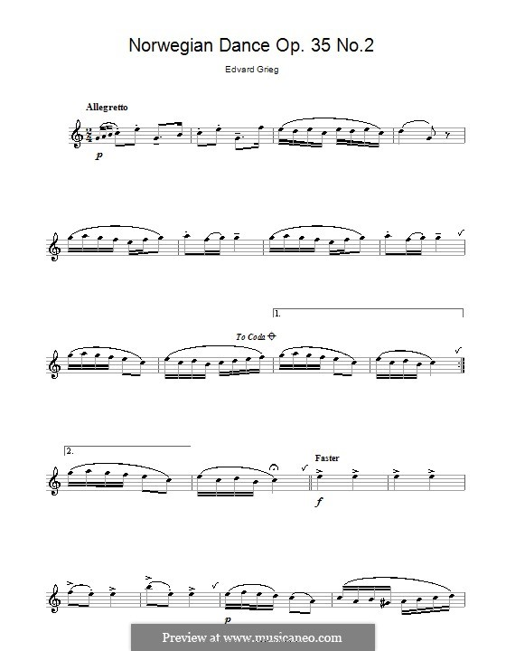 Four Norwegian Dances, Op.35: Dance No.2, for alto saxophone by Edvard Grieg