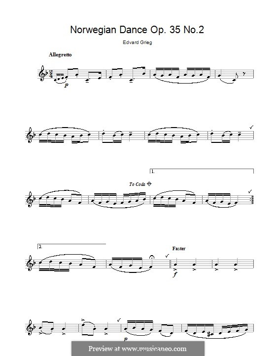 Four Norwegian Dances, Op.35: Dance No.2, for clarinet by Edvard Grieg