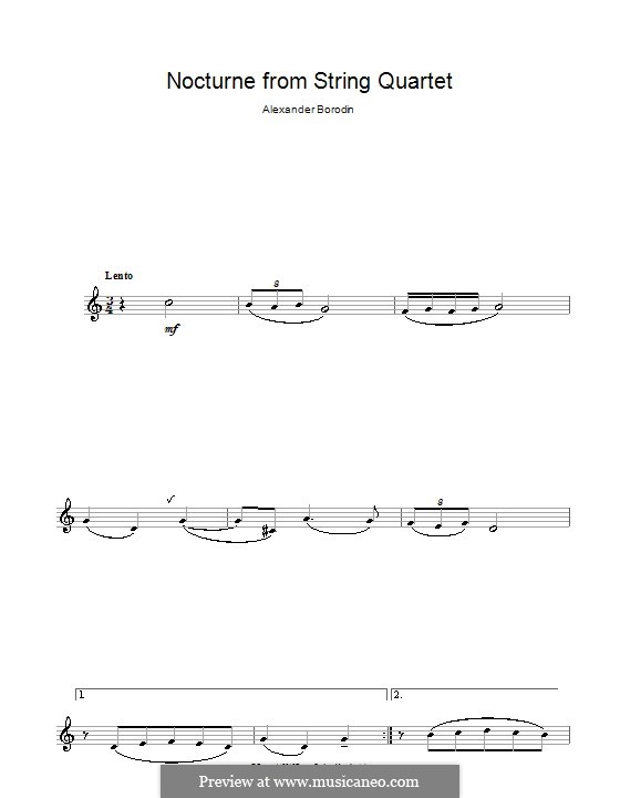 String Quartet No.2 in D Major: Movement III (Theme). Version for clarinet by Alexander Borodin