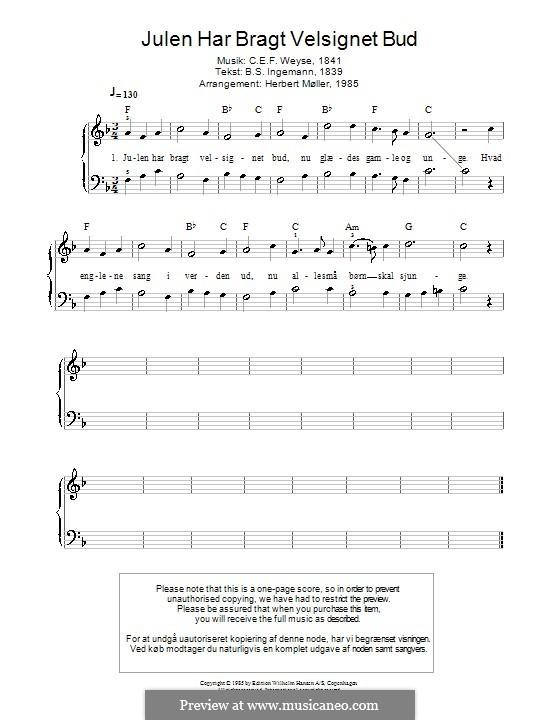 Julen Har Bragt Velsignet Bud: Para Piano by Christopher Ernst Friedrich Weyse
