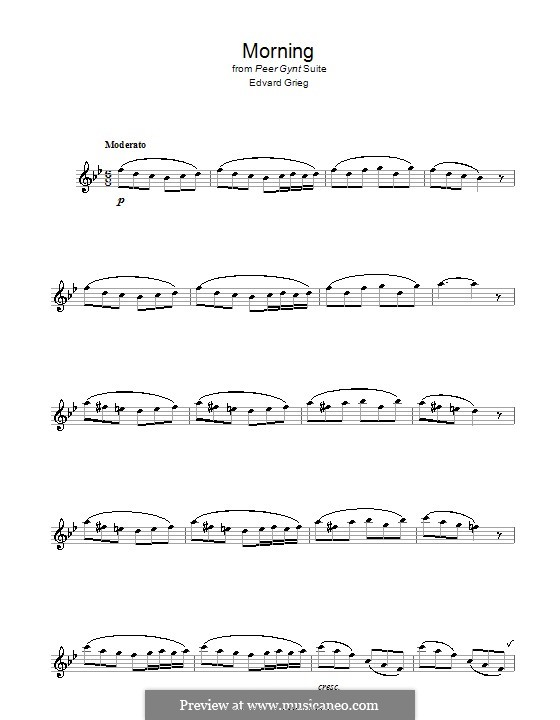 Suite No.1. Morning Mood, Op.46 No.1: para Saxofone Alto by Edvard Grieg