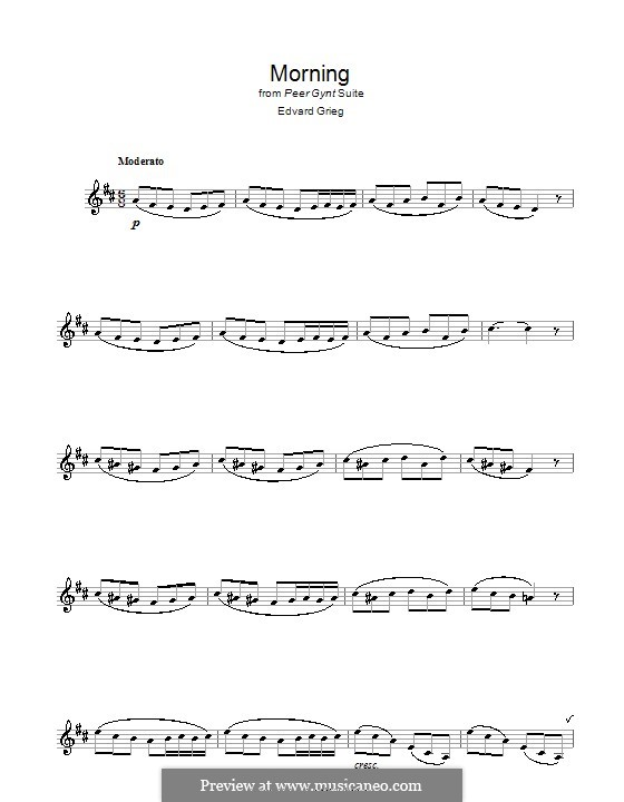 Suite No.1. Morning Mood, Op.46 No.1: para clarinete by Edvard Grieg