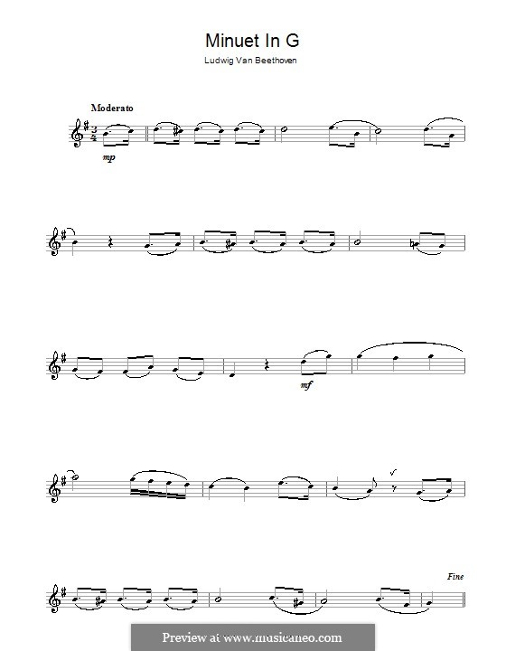 Minuet in G Major: Version for alto saxophone by Ludwig van Beethoven