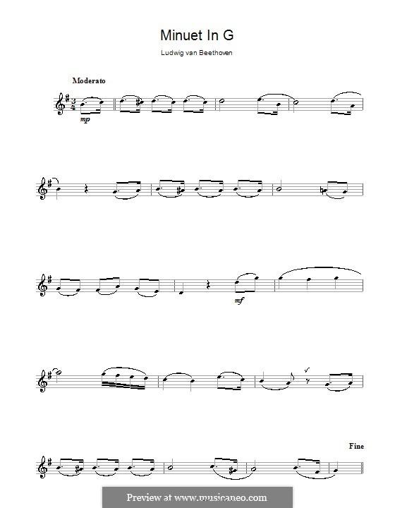 Minuet in G Major: Versão para flauta  by Ludwig van Beethoven