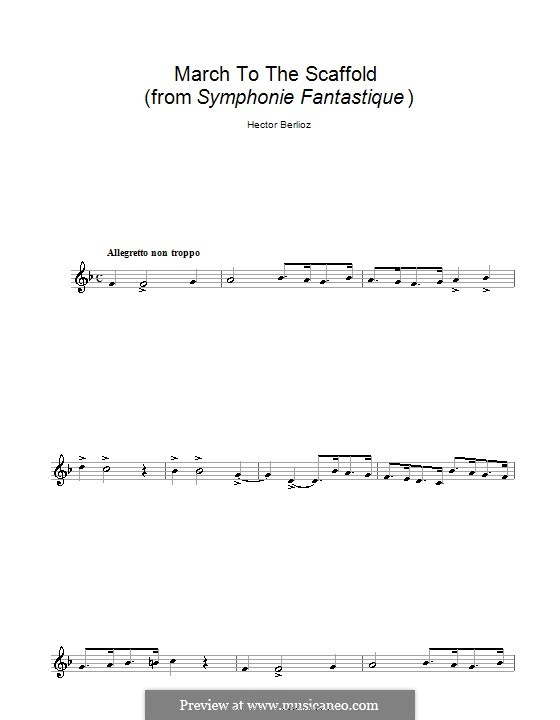 Symphonie fantastique (Fantastic Symphony), H.48 Op.14: March to the Scaffold, for clarinet by Hector Berlioz
