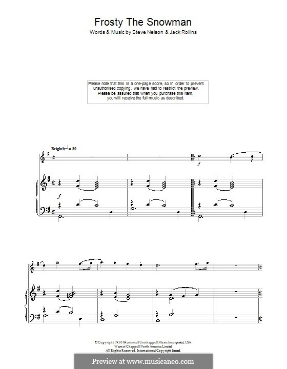 Frosty the Snow Man: For flute (The Ronettes) by Jack Rollins, Steve Nelson