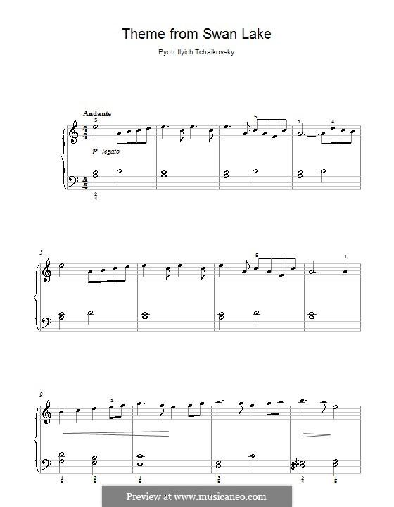 Fragments: Theme, for easy piano by Pyotr Tchaikovsky