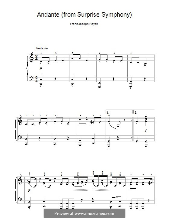 Movement II: Theme, for easy piano by Joseph Haydn