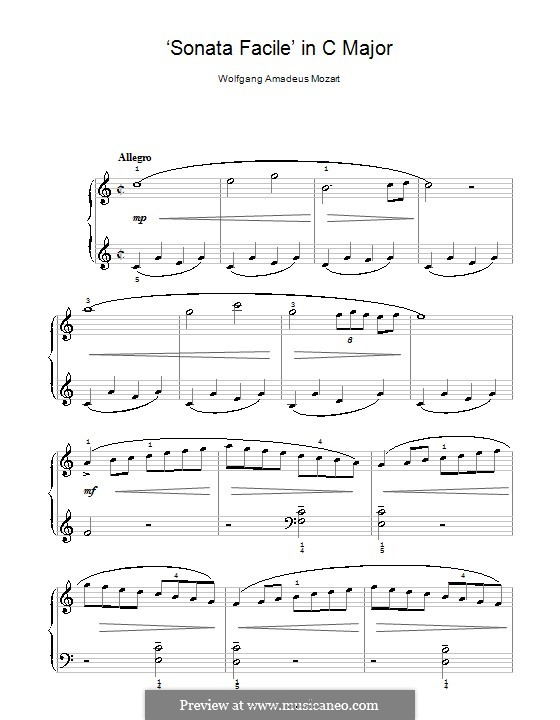 Sonata for Piano No.16 in C Major, K.545: Movement I. Version for easy piano by Wolfgang Amadeus Mozart