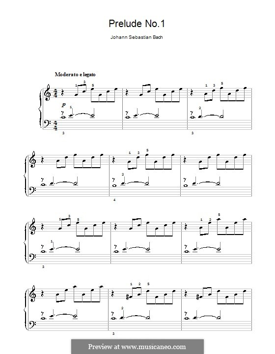 Prelude and Fugue No.1 in C Major, BWV 846: Prelude, for easy piano by Johann Sebastian Bach