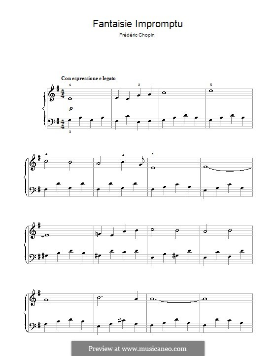 Fantasia-Impromptu in C Sharp Minor, Op.66: Moderato cantabile, for easy piano by Frédéric Chopin