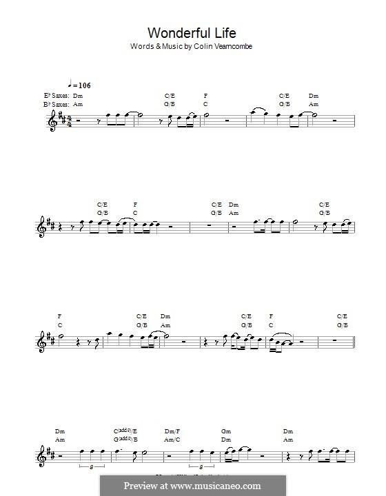 Wonderful Life (Black): para saxofone by Colin Vearncombe