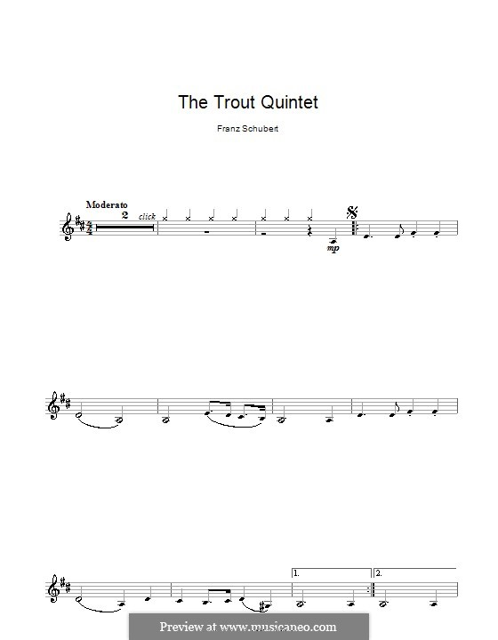 Quintet for Strings and Piano 'The Trout', D.667 Op.114: Movement IV (Theme). Version for clarinet by Franz Schubert