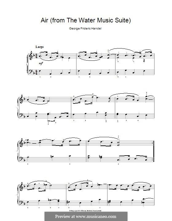 Suite No.1 in F Major – Aria, HWV 348: Facil para o piano by Georg Friedrich Händel