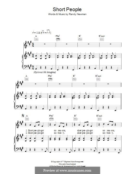 Short People: Para vocais e piano (ou Guitarra) by Randy Newman