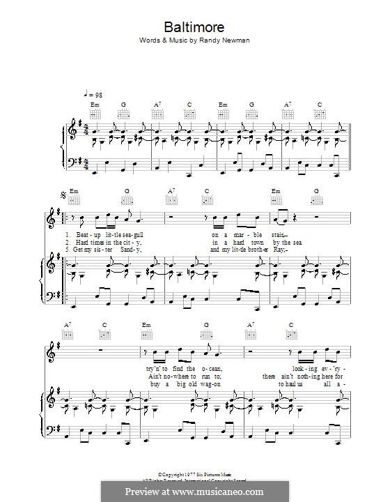 Baltimore: Para vocais e piano (ou Guitarra) by Randy Newman