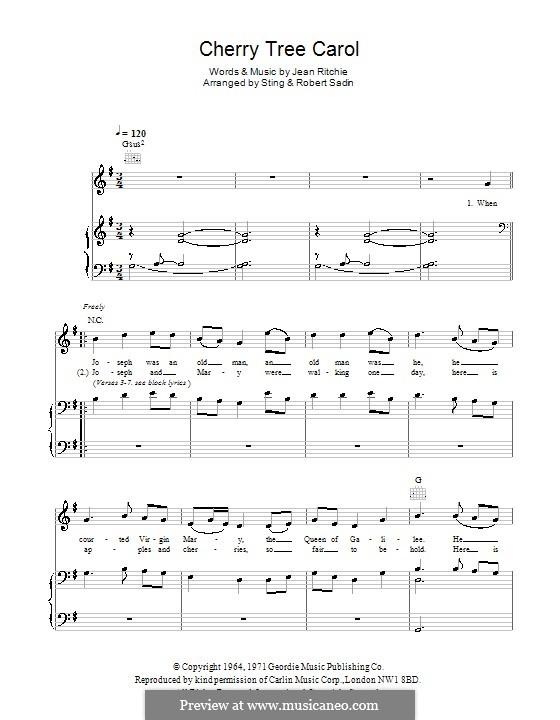 Cherry Tree Carol: Para vocais e piano (ou Guitarra) by Jean Ritchie