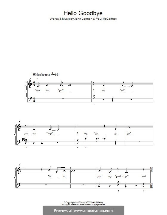 Hello, Goodbye (The Beatles): facil para piano (Glee Cast) by John Lennon, Paul McCartney